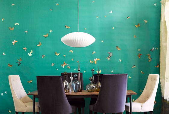 emerald-green-wallpaper-butterflies