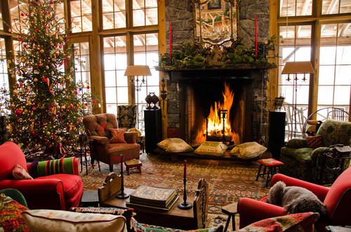 Favimchristmas Christmas Tree Decor Fireplace Living Room